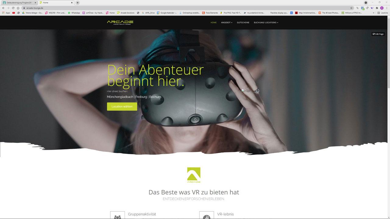 Webdesign Arcade VR Lounge